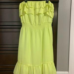 Gianni Bini yellow strapless dress